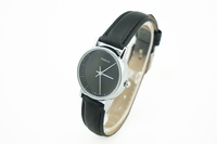 бренд pangchi популярный модные тонкие руки Мужская платье часы кожа простой черный циферблат Специальные часы пара высокого качества подарок
