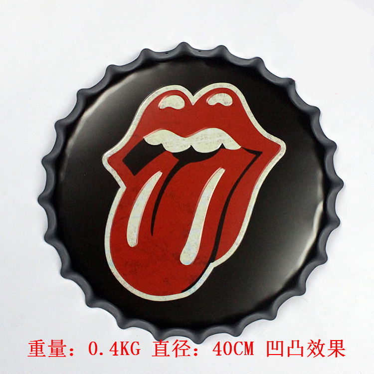 40cm Metal Printed Mouth Pattern Beer Bottle Cap Vintage Tin Signs Bar/Food Shop Room Wall Decor Poster(China (Mainland))