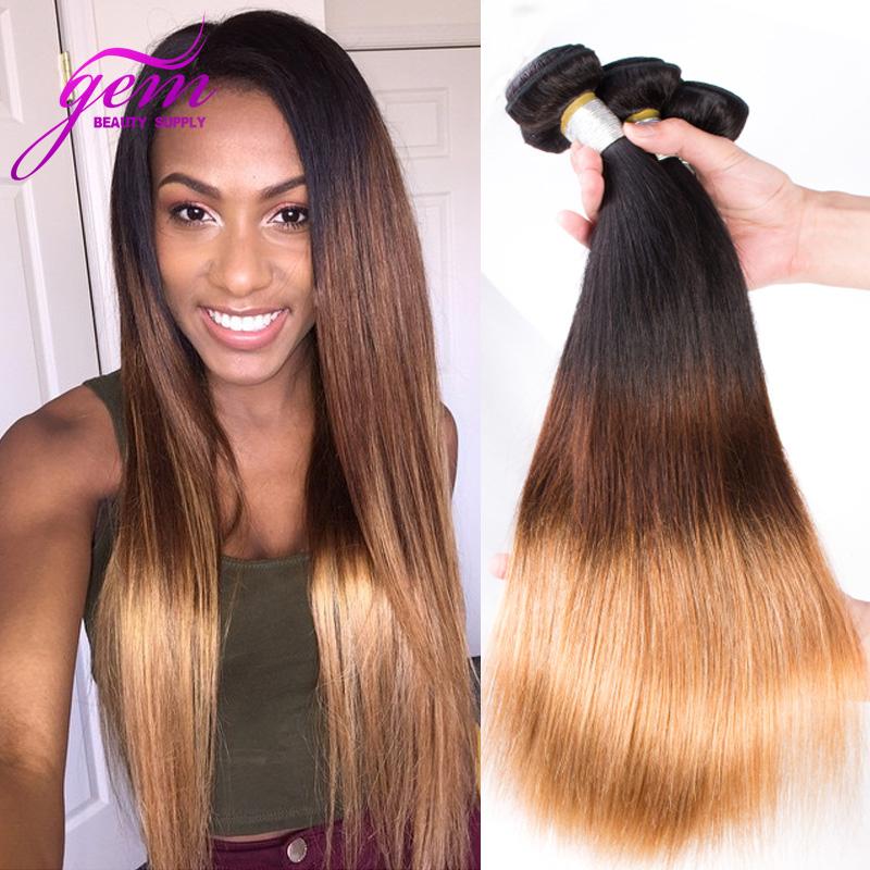 Ombre Brazilian Virgin Hair Straight 3pcs Lot Three Tone Ombre Brazilian Hair Bundles Human Hair Weave Virgin Brazilian Straight<br>
