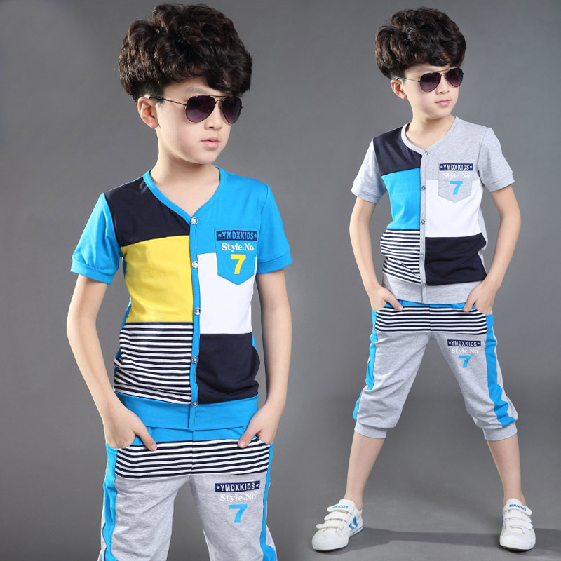 Kids Clothes For Boys 2016 Summer Boys Clothing Sets Cotton Casual Children Sports Suits Plaid T-Shirt + Pants 2Pcs Baby Clothes