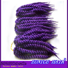 Purple Braiding Hair 12roots/Piece Havana Mambo Crochet Hair Extensions Twists 2016 New Arrival Kanekalon Braiding Hair Colors
