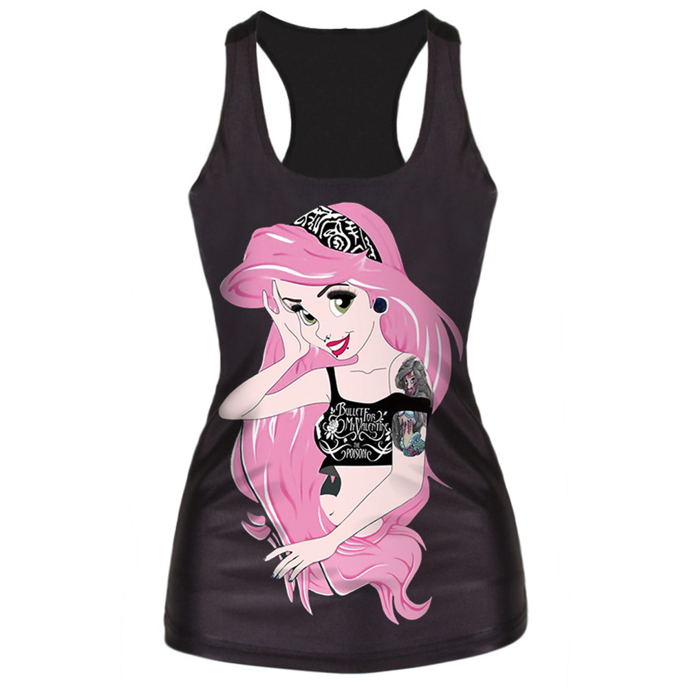 Stylish Cartoon Girl Printing Sleeveless T-Shirt Fashion Black Vest Tops High Quality Basic Vest New Hot Sale Desig Camisole(China (Mainland))