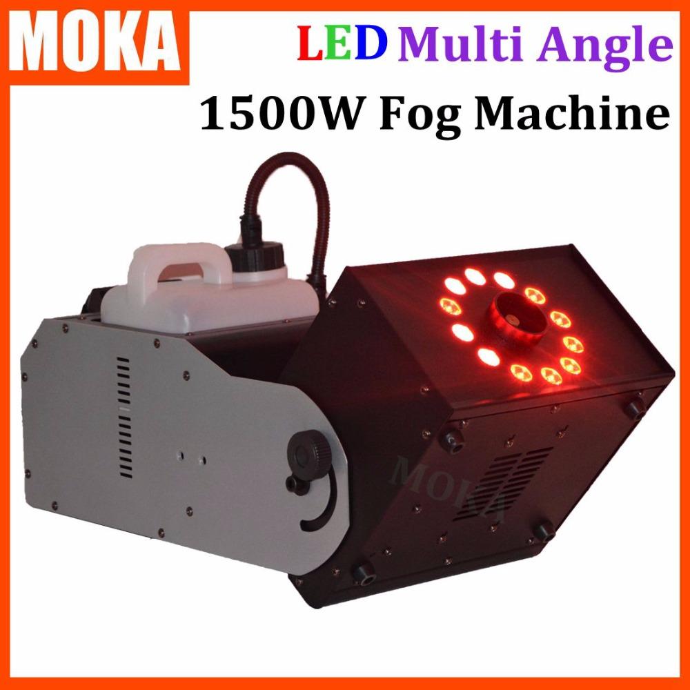 LED multi angle fog machine 1500W RGB color 3 in 1 12*3w led lamp led smoke machine dmx 512 controller 8 minutes heater(China (Mainland))