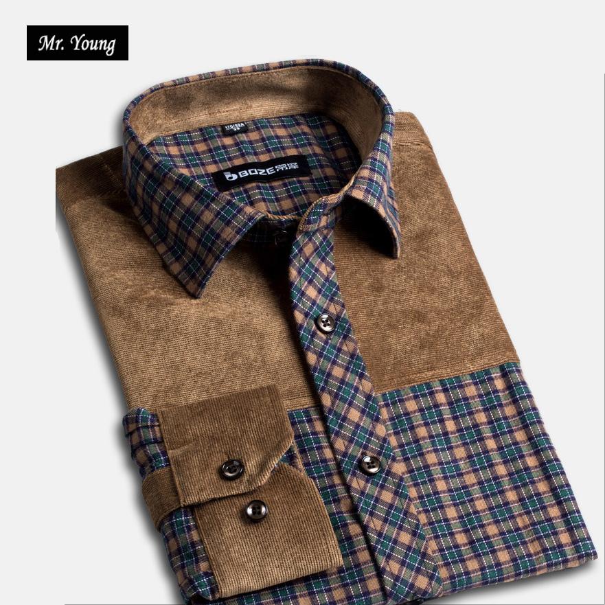 Mr Young Brand Clothing Plus Size Men s Shirts Long Sleeve font b Plaid b font