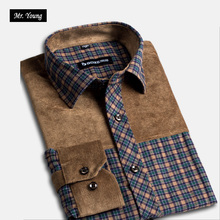 Mr. Young Brand Clothing Plus Size Men's Shirts Long Sleeve Plaid Casual Shirts Turn-down Collar Cotton Fitnes Men Vintage Shirt