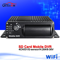 Free shipping wifi car dvr H 264 4CH dual SD card mobile vehicle dvr MDVR support