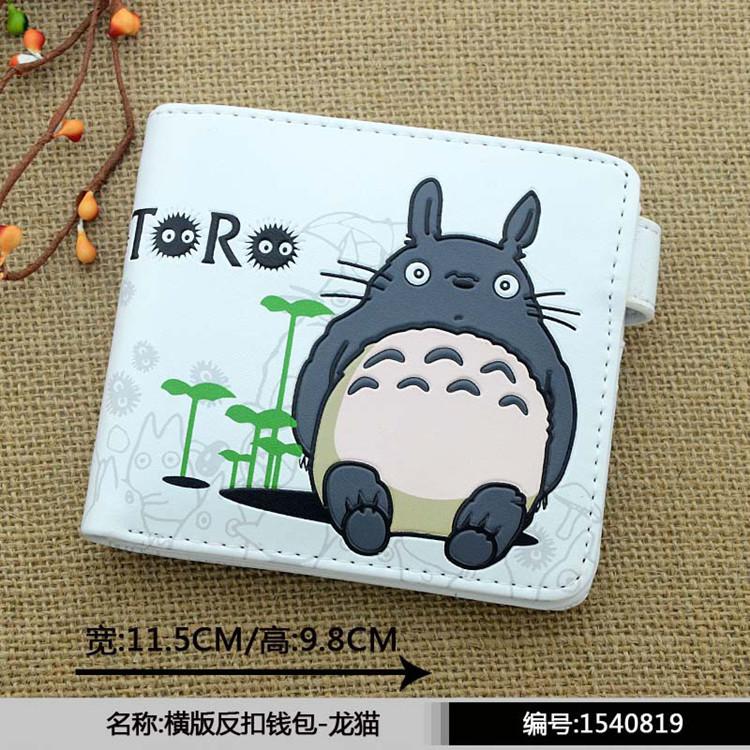 2016 new cartoon girls totoro wallets anime female my neighbour Totoro PU purse short wallet(China (Mainland))