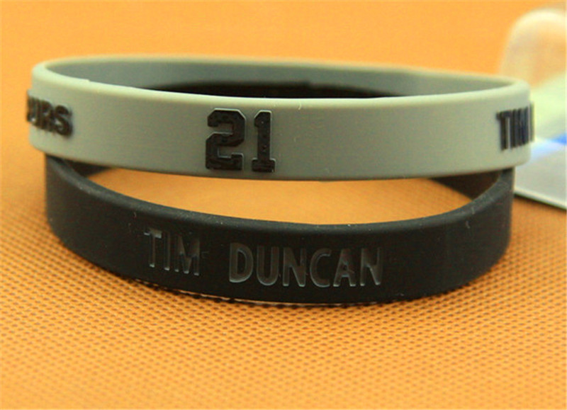 1pairs new arrival silicone power bangle with NBA star Duncan Tim logo sport keep balance wristband top quality energy bracelet(China (Mainland))