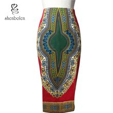 2016 spring new style African print high waist pencil skirt back slit with invisible zipper