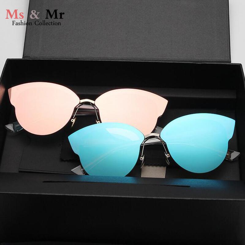 2016 New Hot sale metal frame pink mirror sunglasses lens color film sunglasses women brand designer.oculos de sol femininoUV400(China (Mainland))