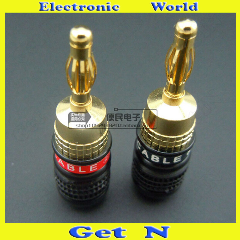 2pcs Monster 24K Gold Plated Banana Connectors Speaker Amplifier Cable Banana Plug Audio Wire Banana Socket(China (Mainland))
