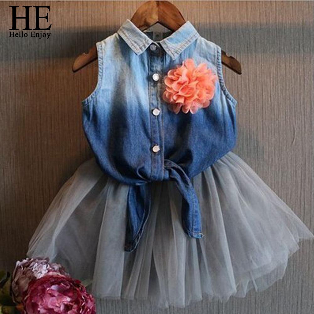 Hello Enjoy summer dress 2016 corsage flowers girls cowboy children Patchwork mesh dresses girl casual  -  HE official store store