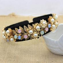 2016 Fashion bridal headwear pearl flower baroque hairbands for wedding hair accessories jewelry 1pcs/lot in stock(China (Mainland))