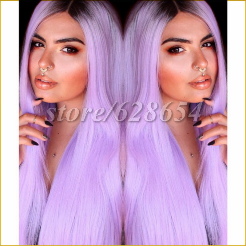 Stock Hot Long Ombre Straight Synthetic Lace Front Wig Glueless Two Tone Color Brown/ Purple Heat Resistant Hair Wigs For Women от Aliexpress INT