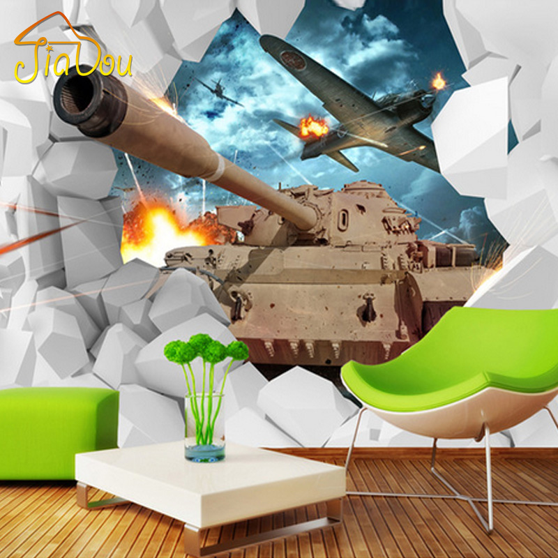 Custom mural 3d stereoscopic tanks wall paper military for Army wallpaper mural