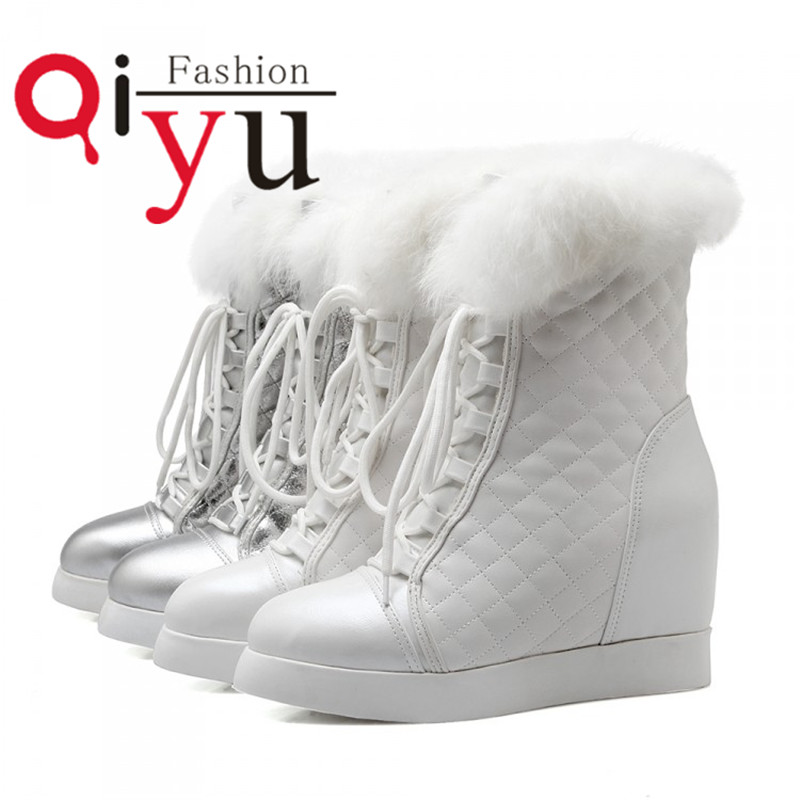 Size 34-39 Lace up Platform Women Shoes Pu Leather Mid Calf Boots Autumn sweet style silver white Boots Round Toe High Heel  <br><br>Aliexpress