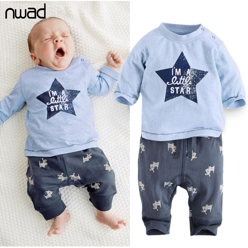 Newbron Boy Clothing Set 2016 New Spring Autumn Star Printing Clothes For Baby Kids Children Outfits Set Costume FF012(China (Mainland))