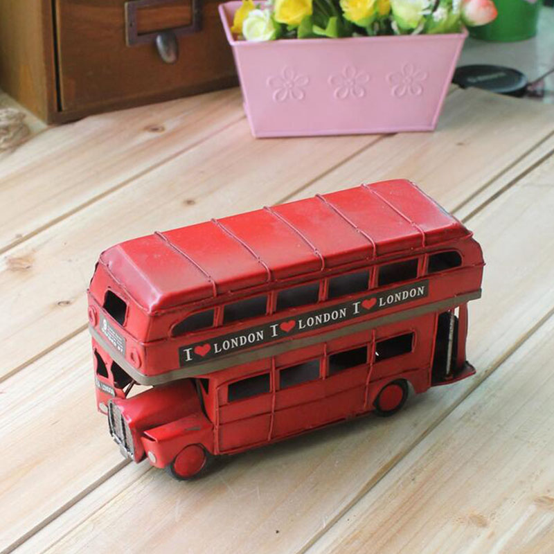 Handmade iron sheet red London double-decker bus car models / retro furnishing articles Arts & Crafts home decorations(China (Mainland))