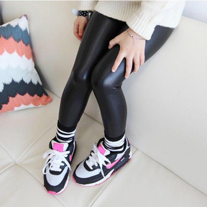 Baby Girl Legging 2016 Fashion Full Length Leggings Faux PU Leather Skinny Pants Girl Leggings Children Pants 66(China (Mainland))