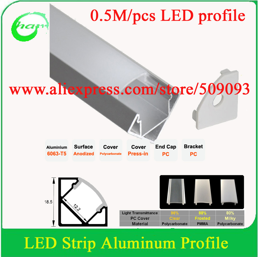 3m (6pcs) a lot, 0.5m per piece, led aluminum profile for led strips with milky diffuse cover or transparent cover(China (Mainland))