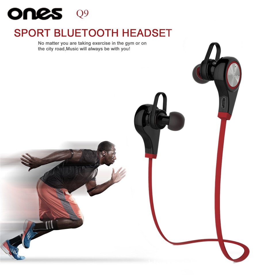 Ones Q9 font b Wireless b font Bluetooth Stereo Earphone Sport Running handsfree font b Earbuds