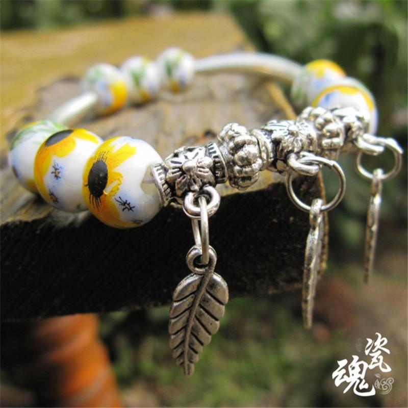 Fashion women Ceramic hand made 2016 new printing flower Jewelry pulseira china sterling birthday Feminino bracelet love B39(China (Mainland))