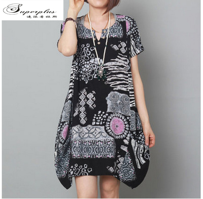 2015 new Arrival ladies fashion loose big size Fluid Systems print short sleeve women clothing casual cotton t shirt dress(China (Mainland))