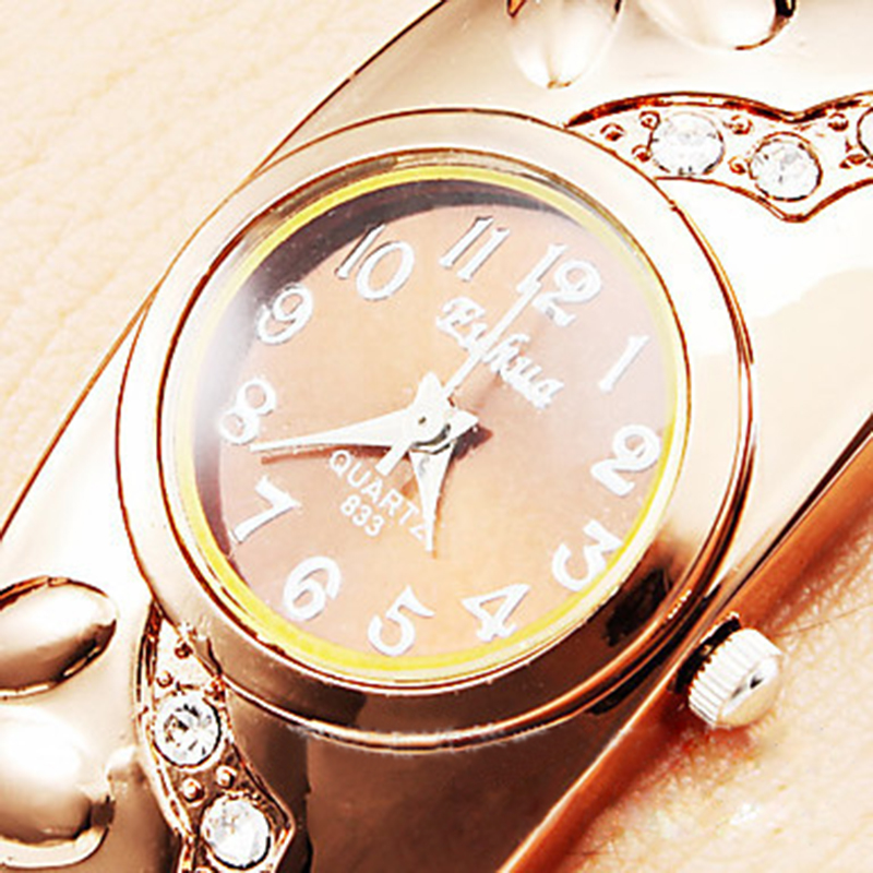 New Brand Luxury Rose Gold Plated CZ Diamond Bangle Watches Hot Bohemian Style Floral Carved Wristwatch(China (Mainland))