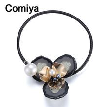 Comiya European & American big plastic flower pearls pendant torque necklaces & pendants leather colliers necklace meus pedidos(China (Mainland))