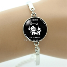 Stylish cartoon game character Temmie image art bracelet Undertale Game Gaming Men bracelets cute girl jewelry lovely gift BA034(China (Mainland))