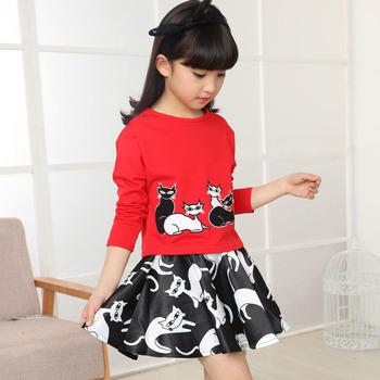 Девушки хлопчатобумажную одежду бренда детская одежда мультфильм - + юбки 2 шт. девушки комплектов одежды весна дети костюмы для девочек