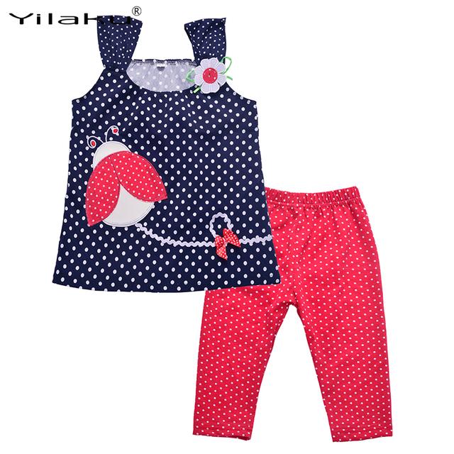 Милый малыш девушка комплект одежды летом новорожденных девочек одежда подходит детям рукавов мультфильм топ + брюки устанавливает для детей наряды CF108