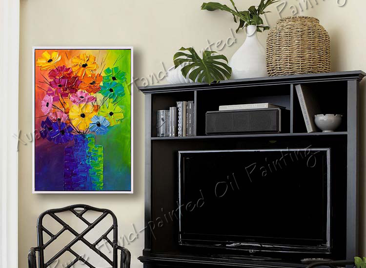 Buy Hand Paint Modern Palette Knife Textured Flowe Abstract Oil Painting On Canvas Wall Art Canvas Modern Home Decoration(No Frame) cheap