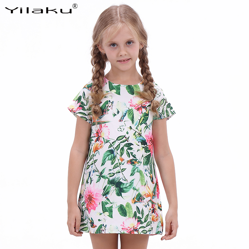 Little Girls Casual Dresses 2016 Brand Baby Girls Clothes Kids Short Floral Print Dress Summer Children's Clothing Girl CA279(China (Mainland))