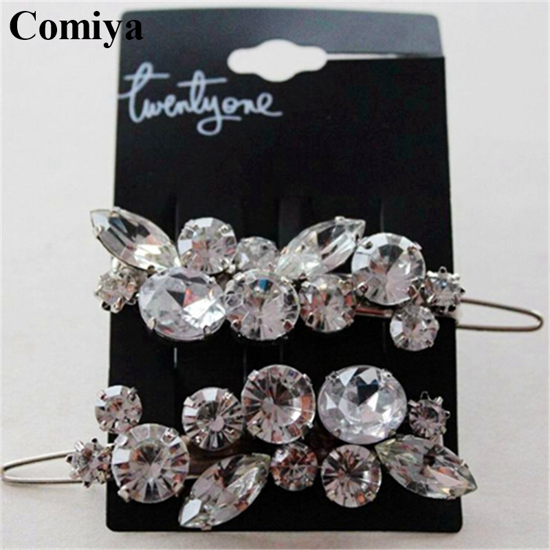 Women crystal flower hair pin accessories fashion barrettes hairs jewelry brial wedding silver plated feminino alloy hairwear(China (Mainland))