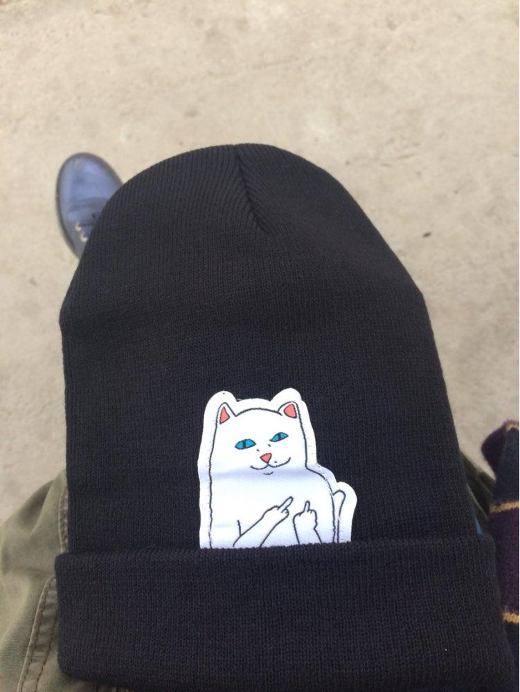 Мне шапка понравилась, хоть и кот не очень красивый, зато модно и тепло. Доставка месяц