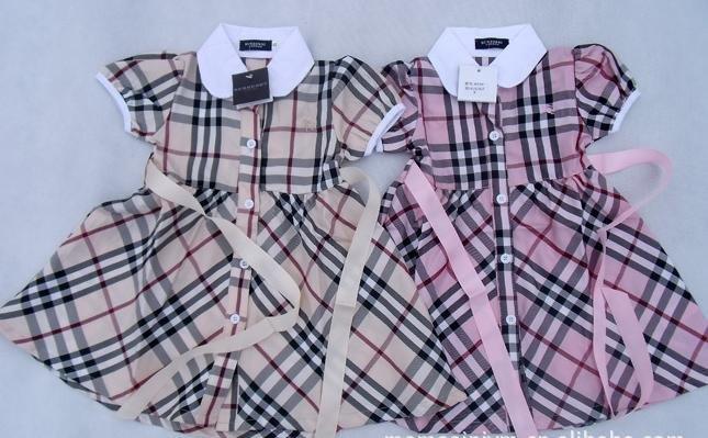 girls dresses children princess dress Plaid name brand