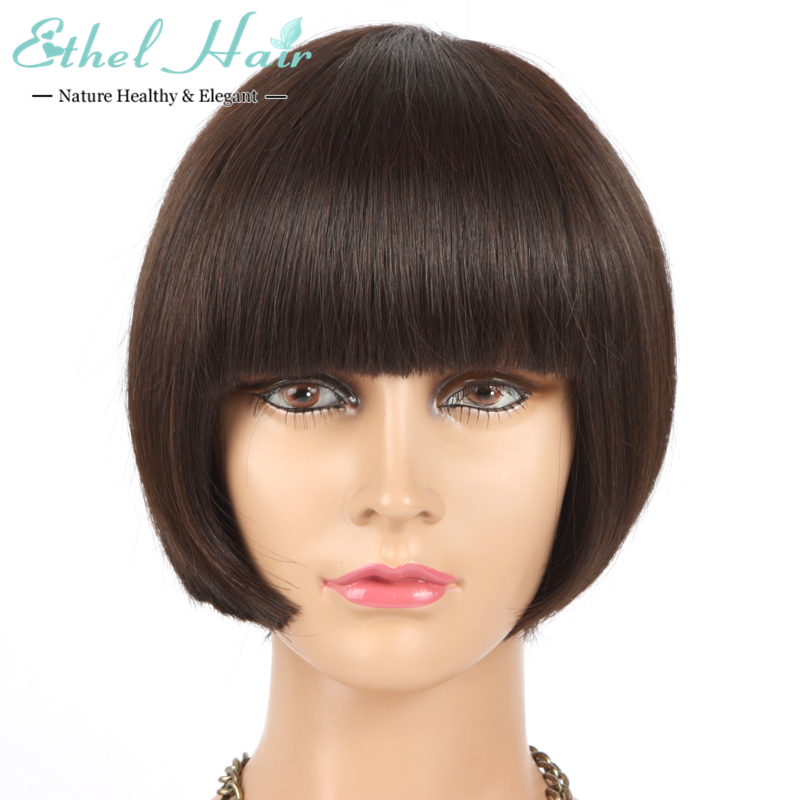 Фотография Hot Selling hair products wig brazilian virgin hair straight, 6A None Full Lace short bob human hair wig free shipping