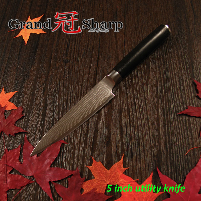 Buy GRANDSHARP 5 Inch Utility Knife 67 Layers Japanese Damascus Stainless Steel VG-10 Core High Quality Chef Kitchen Tools NEW cheap
