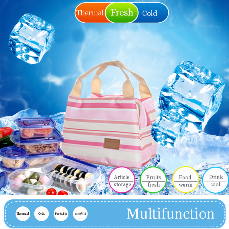 Fashion Oxford Cool And Thermal Lunch Bag With Zipper Foil inner Stripe Fresh Food Organizador For School Days Picnic(China (Mainland))