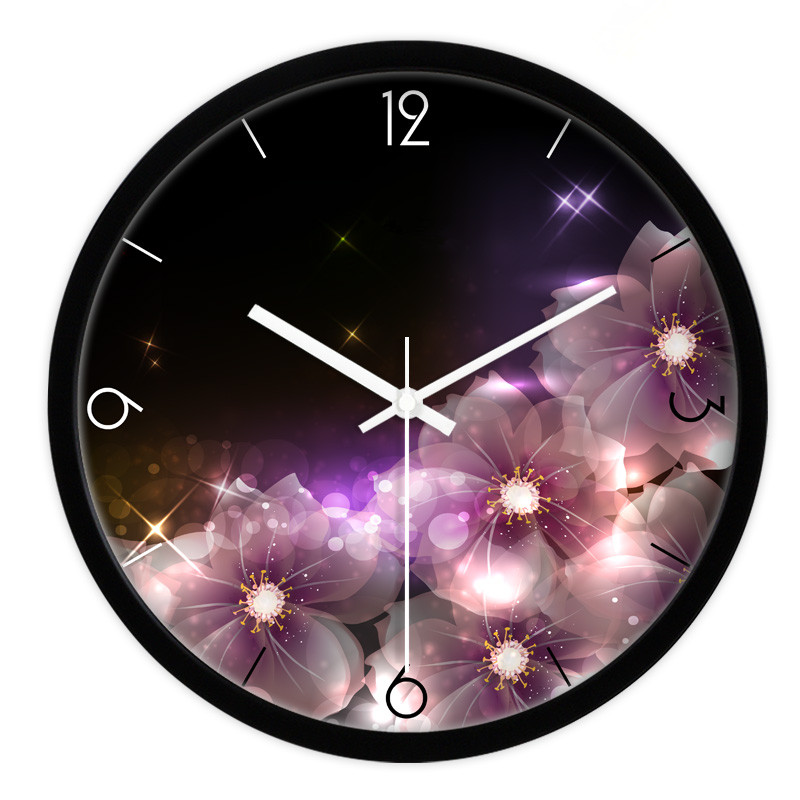 1 piece Black round quartz clock with gorgeous flower pattern/ Sitting room bedroom mute clocks/ Modren and creative wall clock(China (Mainland))