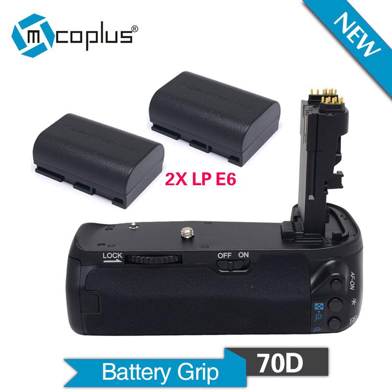 Mcoplus BG-70D Vertical Battery Grip Holder with 2pcs LP-E6 Batteries for Canon EOS 70D Camera Replace as BG-E14 Meike MK-70D(China (Mainland))