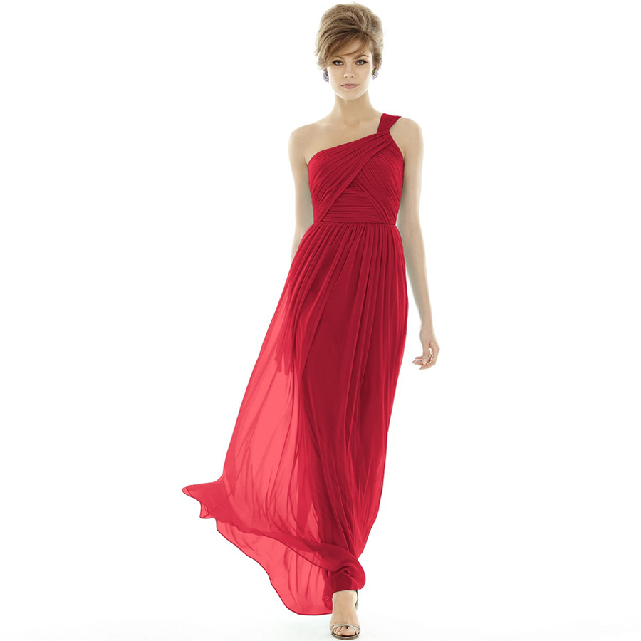 One shoulder a line chiffon long red bridesmaid dresses for Elegant wedding party dresses