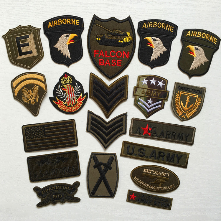 Super Quality 9pcs Mix Military Motif Set Embroidered Patches for Clothing Sew Iron on Clothes Badge Patch Army Appliques(China (Mainland))