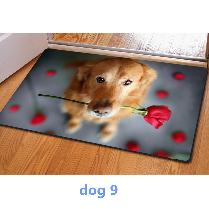 Entrance doormat 3D cute pet dog printed Rubber Mat 3D ainmal Carpet For Bedroom Kitchen door 40*60cm felt rug home decor modern(China (Mainland))