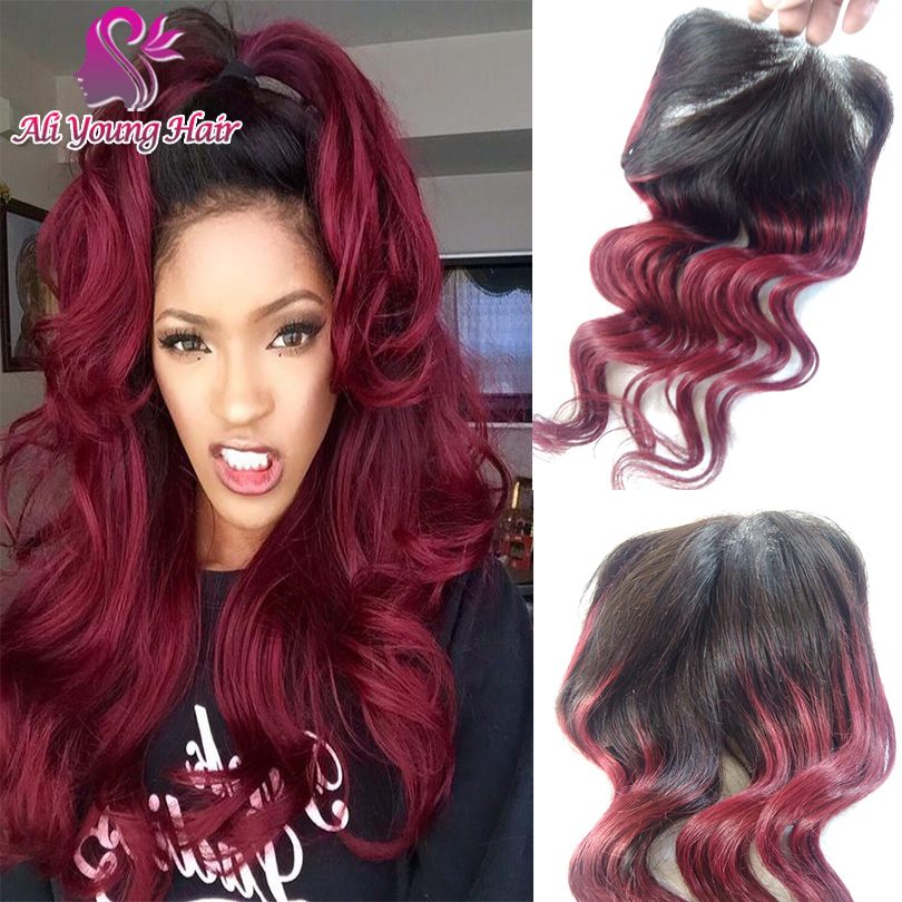 6A Brazilian Virgin Hair 4x4 Ombre Lace Closure T1B/Burgundy Free Part Body Wave Lace Closure Bleached Knots With Baby Hair<br><br>Aliexpress