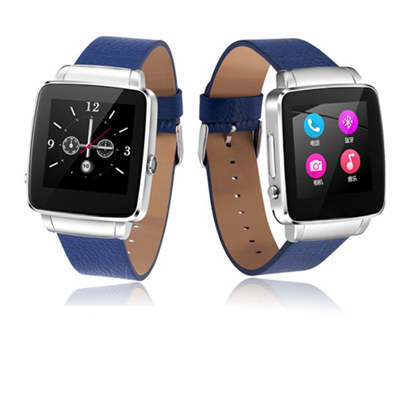 Free Shipping Man and Lady Woman Soft Leather Watch Band Square Shape Thin Body Two Way Talk Android and iOS Smart Watch Phone(China (Mainland))