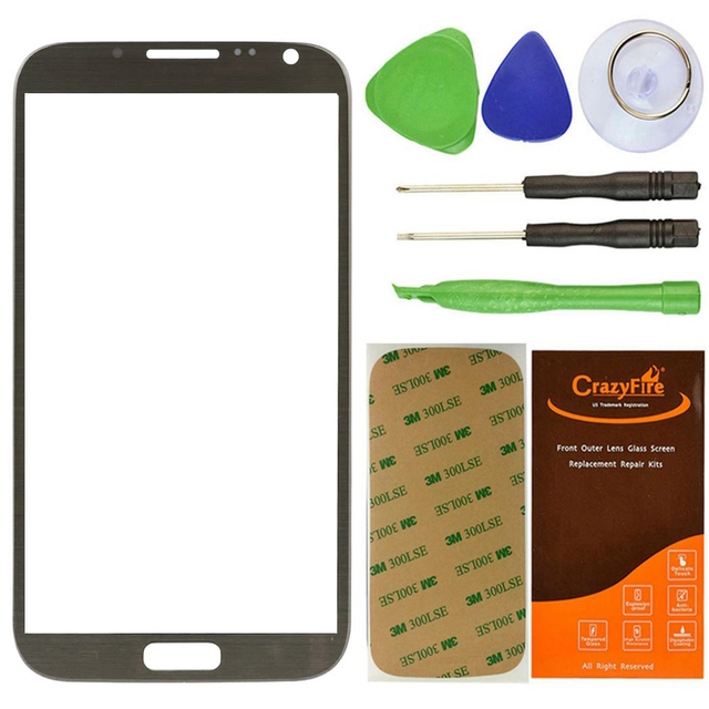 Freeshipping Titanium Grey Front Outer Glass Lens Screen For Samsung Galaxy Note 2 II N7100 Replacement+Tools+Adhesive