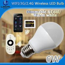6w e27 2700k-6500k Color  temperature adjustable wifi led smart bulb brightness dimming smartphone remote control(China (Mainland))