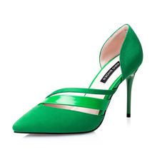 fashion thin heels women's high-heeled shoes velvet pointed toe sexy cutout ol sandals